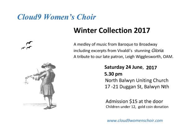 Cloud 9 Winter concert 2017 flyer A4